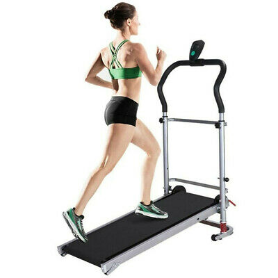 Manual Folding Treadmill Portable Machine Fitness Gym Running Incline Cardio