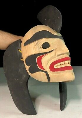 Vtg Native American Northwest Coast Indians Killer Whale Articulated Mask Signed