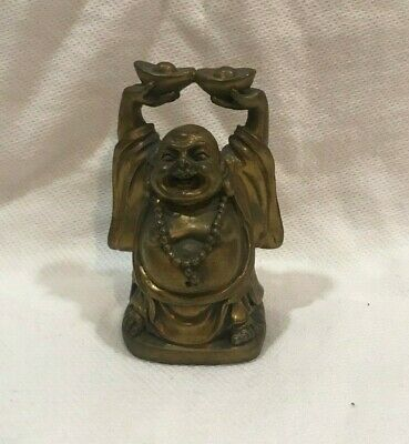 Collectible China Old Bronze Hand-Carved Happy Buddha & Wealth Bring Luck Statue