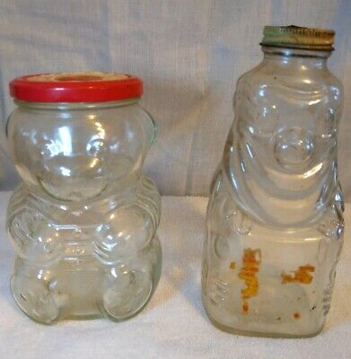 Vintage kraft grape jelly glass bear & Grapette Glass Clown jar
