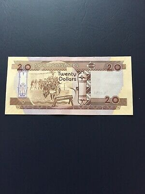 Circulated 20 Dollars Solomon Islands Bank Note. Ideal ForCollection.