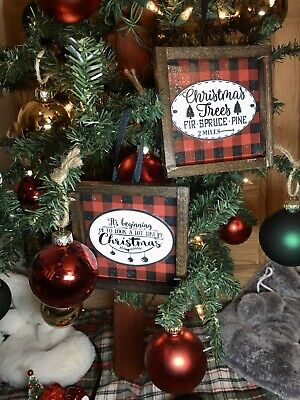 2 Farmhouse Style Rustic Christmas Ornaments Mini Signs Holidays Buffalo Check
