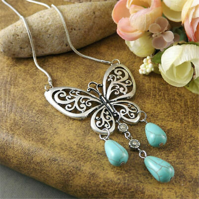 Fashion Turquoise Beads Dangle Silver Carved Butterfly Women Pendant Necklaces