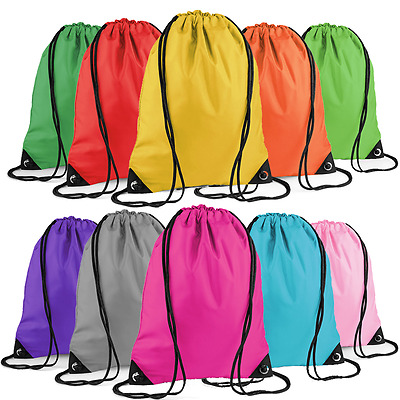 String Drawstring Backpack Cinch Sack Gym Tote Bag School Sport Solid Pack Daily