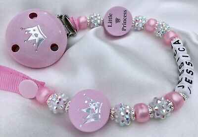 ♕ Personalised DUMMY CLIP Name upto 10 letters ♕ LITTLE PRINCESS ♕ Pink Sparkle♕