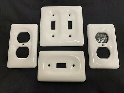 Rare Vintage 4 White Porcelain Outlet Covers And Switch Plates