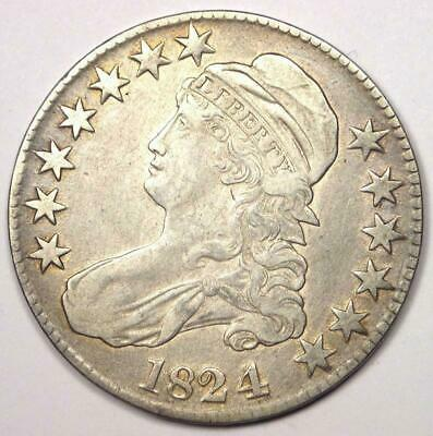 1824/4 Capped Bust Half Dollar 50C - Sharp Details - Rare Overdate Coin!