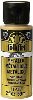 Folkart Metallic Acrylic Paint In Assorted Colors (2 Oz), 660, Pure Gold