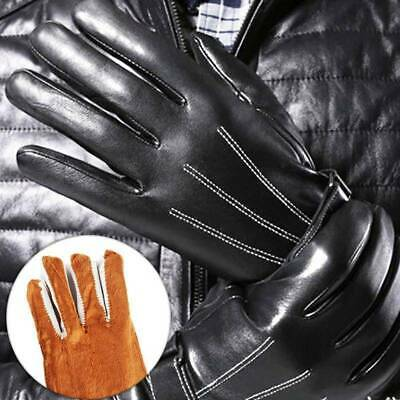 Leather Gloves Full Finger Mens Motorcycle Driving Winter Warm Touch NEW RoVyC