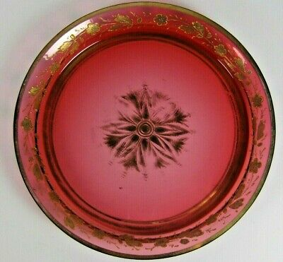 Antique Victorian Enameled Cranberry Glass Tray Dish Plate Bohemian MOSER Gilt
