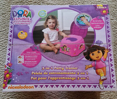 Nickelodeon Dora the Explorer 3 in1 Potty Training Chair Step Stool Stickers NEW