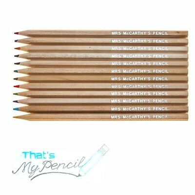 12 Natural Wood Hexagonal Coloured Pencils Personalised/Embossed with Name