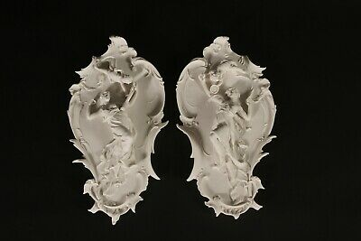 Marble Meissen Wall Plaques (Pair), Classical Sculpture, Gift, Art, Ornament.