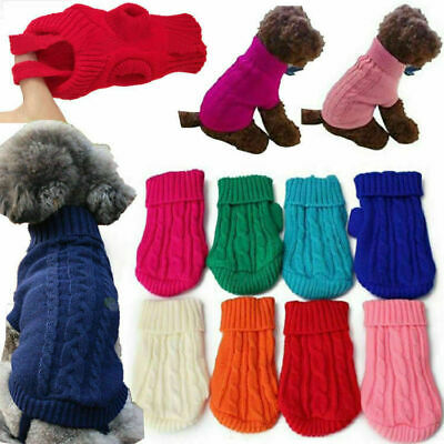 Cut Pet Dog Puppy Cat Knitted Jumper Winter Sweater Warm Coat Jacket Clothes uk
