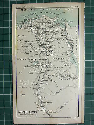 1904 Small Map ~ Lower Egypt ~ Cairo Nile Delta Rosetta Damietta Giza