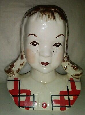 Standford Jean Sandy Head Vase Wall Pocket With Pigtails #D231