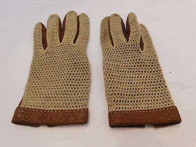 *Designer Ladies Brown Leather & Beige Crocheted Fabric  Gloves Unlined Size 6.5