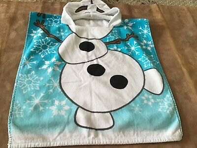 Disney Frozen Olaf Cotton Hooded Poncho Beach/Bath/Pool Cover Up Towel By Franco
