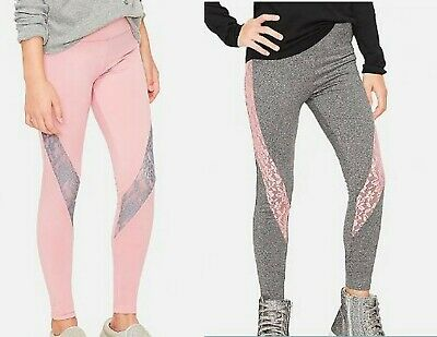New Justice floral lace leggings pink & gray 14-16 n10