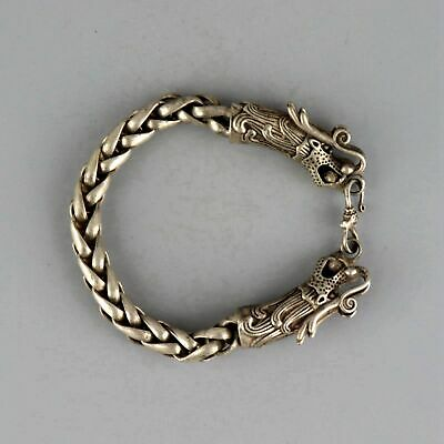 Collect Antique Miao Silver Hand-Carved Double Dragon Moral Exorcism Bracelet