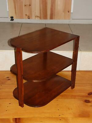 Vintage Art Deco Solid Walnut Three Tiered End Table Stand Maine State Prison