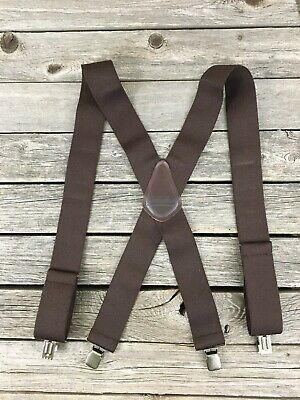 Cabela's Men's Metal Clip On Adjustable Brown Elastic Leather Patch Suspenders