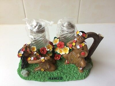 Vintage Hula Dancers Glass Salt and Pepper Shakers - Stand -  Hawaii 1950's