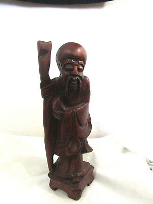 "LARGE 8"" Vintage Chinese wood figurine hand carved Immortals Antique"