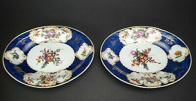 Antique English First Period Dr Wall Worcester Porcelain 2 Oval Plates c. 1770