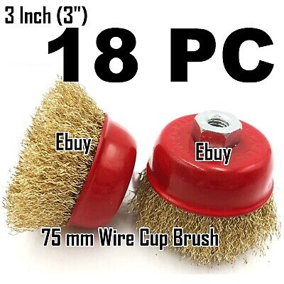 "18 PC 3"" x 5/8"" Arbor FINE Crimped Wire Cup Wheel Brush - For Angle Grinders"