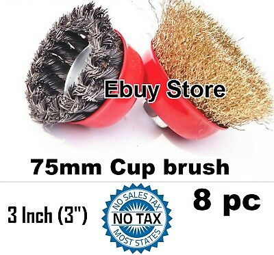"8 Wire Cup Brush Wheel 3"" (75mm) for 4-1/2"" (115mm) Angle Grinder Twist Crimped"