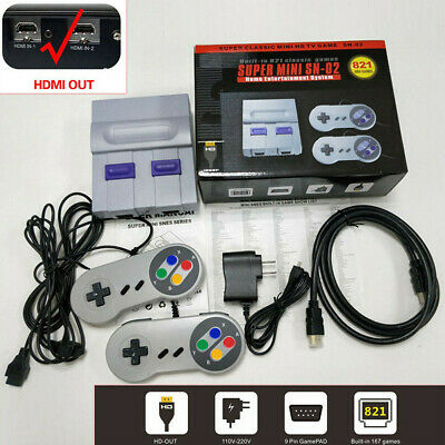 Mini Retro Classic HDMI TV Game Console SNES 821 Built-in Games+2 Gamepads