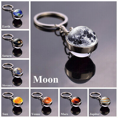 Solar System Planet Keyring Galaxy Nebula Space Double Side Glass Ball Key Chain