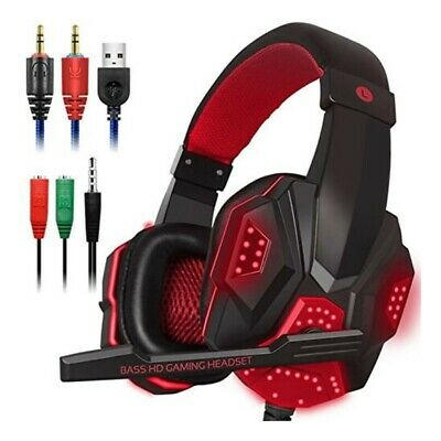 3.5mm Gaming Headset Wired LED Headphones Stereo with Mic for PC Xbox One @IC