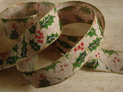 Christmas Vintage Holly Burlap Jute Red Wired Ribbon Crafts Decor 1m