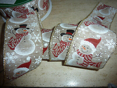 Christmas Snowman Burlap Jute Red Wired Ribbon Crafts Decor 1m