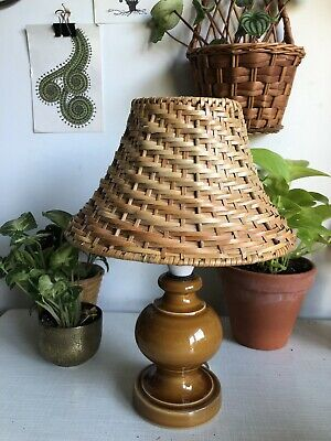Vintage Boho MCM Woven Cane Wicker Collie Shape Lamp Clip On Shade For Lampbase
