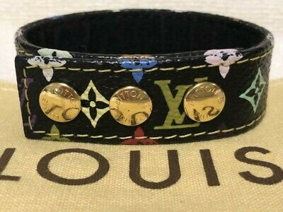 hec126 Louis Vuitton monogram pattern novelty bracelet multi color / black 2003