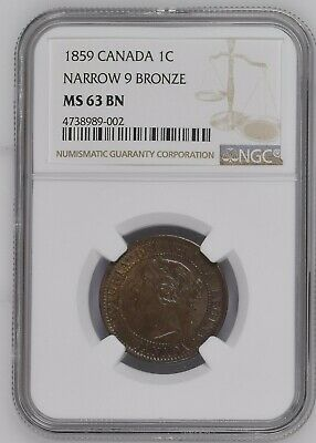Canada, Bronze Large 1 Cent, 1859, Victoria, Narrow 9, NGC MS 63 Brown