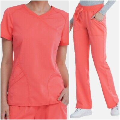 Scrubstar Premium Stretch Scrub Set Women Mock Wrap Coral Rush Top Yoga Pants