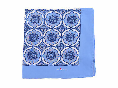Kiton Blue & White Geometric Silk Pocket Square Handmade In Italy