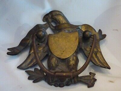 Vtg Cast Brass Spread Eagle HEAVY Door Knocker with Nameplate