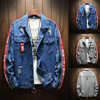 Men Spring Autumn Fashion Patchwork Denim Jacket Coat Turn-down Collar Outwear
