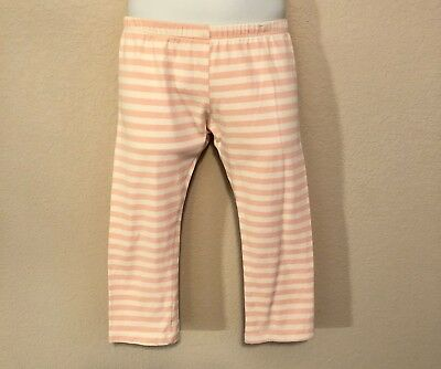 PERSNICKETY Girls Cropped Pink Off White Striped Layering Leggings 4 4T