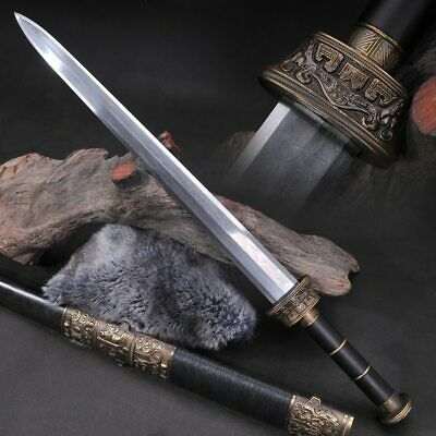 Chinese Warring States Period Sword Fully Handmade Damascus Folded Steel Tang