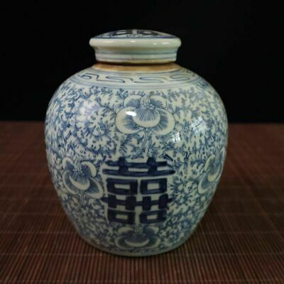 Festcool Antique Style Blue and White Porcelain Flowers Ceramic Covered Jar Vase