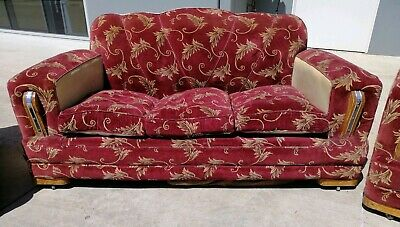 1940's Club Lounge Suite, Art Deco Couch Sofa Arm Chairs x2 Set
