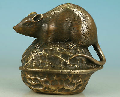 Lovely Brass Hand Carved Mouse Walnut small statue