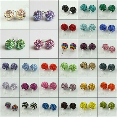 1Pair Sparkle Czech Crystal Round Disco Ball 925 Silver Stud Earrings 8mm 10mm