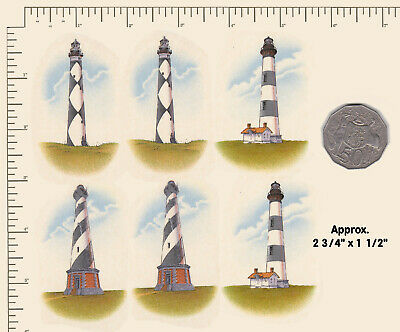 "6 x Waterslide Ceramic decals Decoupage Lighthouse Sea Beach 2 3/4"" x 1 1/2"" PD1"